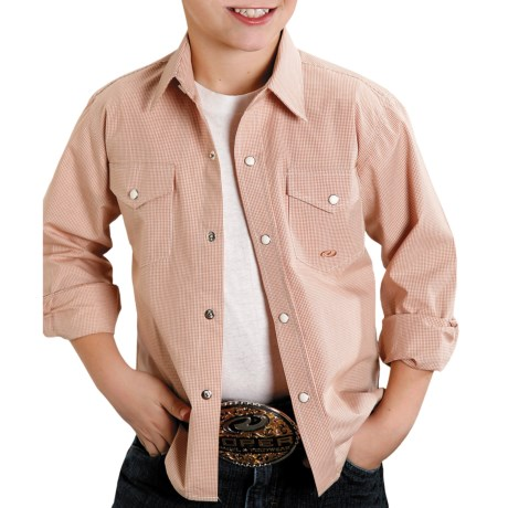 Roper Mini-Check Shirt - Snap Front, Long Sleeve (For Boys)
