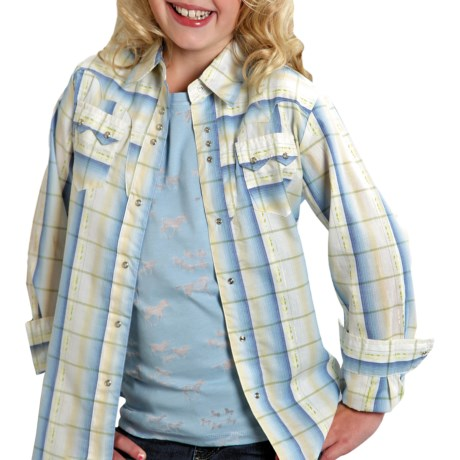 Roper Ombre Jacquard Plaid Shirt - Snap Front, Long Sleeve (For Girls)