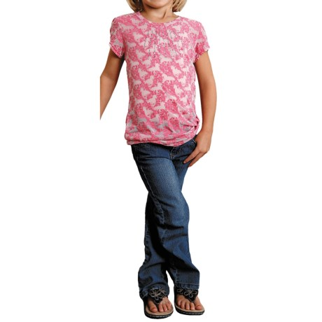 Roper Vine and Horse Burnout T-Shirt - V-Neck, Short Sleeve (For Girls)