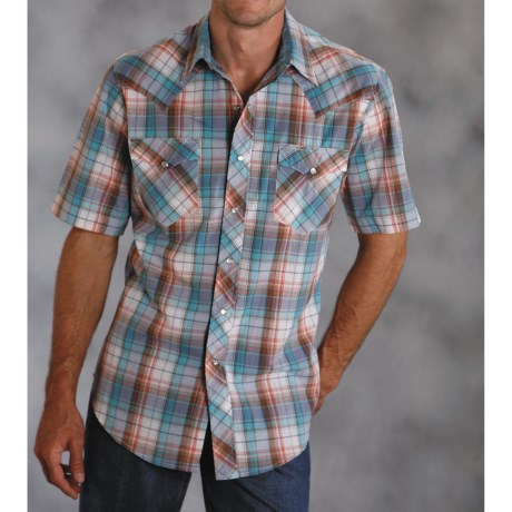 Roper Blue Jean Plaid Shirt - Snap Front, Short Sleeve (For Men)