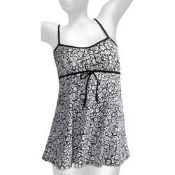 It Figures Drawstring Empire Waist Swimdress - 1-Piece (For Women)
