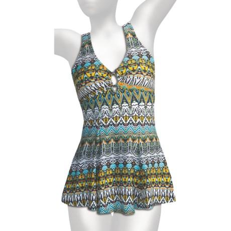 It Figures O-Ring Empire Waist Swimdress - 1-Piece (For Women)