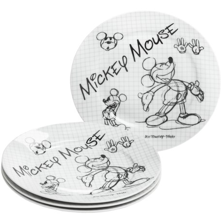 Disney Sketch Book Porcelain Salad Plates - Set of 4