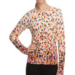 August Silk Printed Cardigan Sweater (For Women)