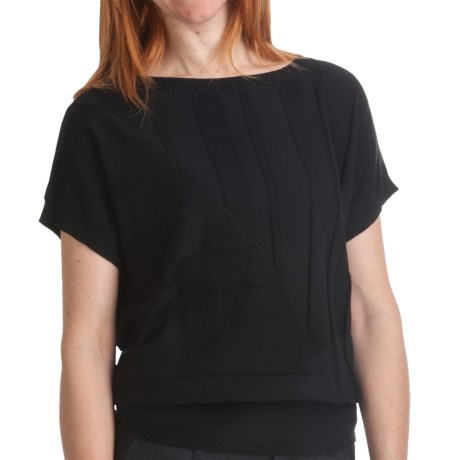 August Silk Textured Stripe Sweater - Cotton-Modal, Short Sleeve (For Women)