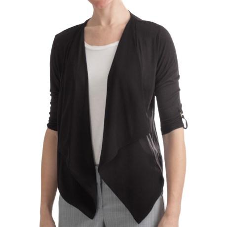 August Silk Modern Hybrid Cardigan Sweater - Drape Front, 3/4 Sleeve (For Women)