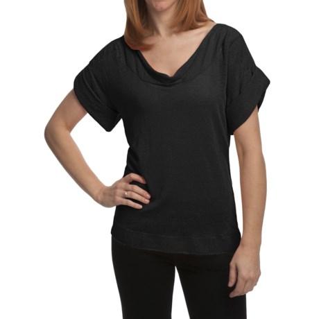 Cullen Tissue Linen Shirt - Drape Front, Short Sleeve (For Women)