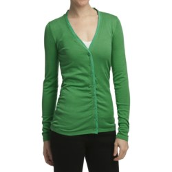 Cullen Silk-Cotton Ruched Cardigan Sweater - V-Neck (For Women)
