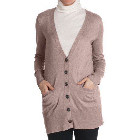 Cullen Button Cuff Long Cardigan Sweater - Silk-Cotton (For Women)