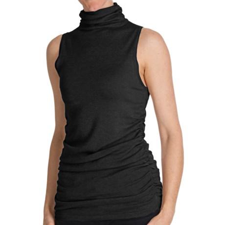 Cullen Ruched Funnel Neck Shirt - Silk Blend, Sleeveless (For Women)