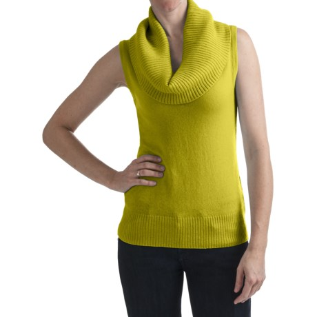 Cullen Ribbed Cowl Neck Shirt - Cashmere, Sleeveless (For Women)
