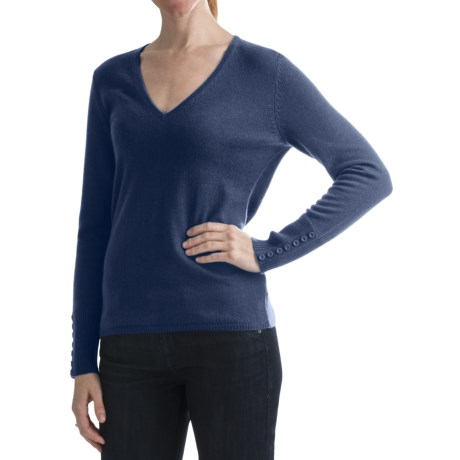 Cullen Ribbed Back Sweater - V-Neck, Cashmere (For Women)