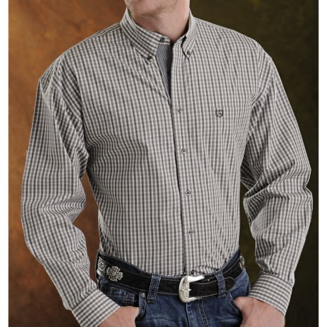 Panhandle Slim Peached Poplin Plaid Shirt - Button Front, Long Sleeve (For Men)