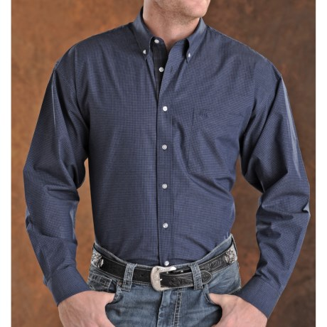 Panhandle Slim Peached Poplin Check Shirt - Long Sleeve (For Men)