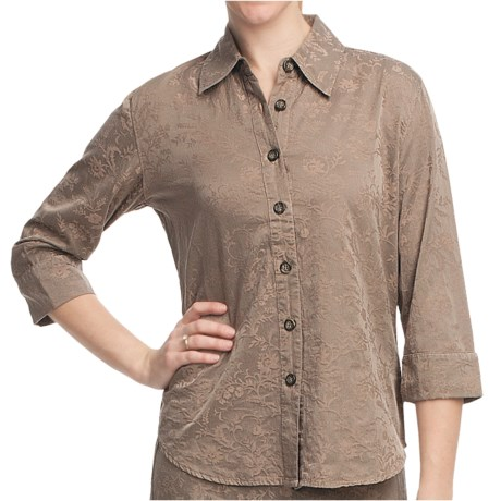 Pulp Silk-Cotton Jacquard Shirt - 3/4 Sleeve (For Women)
