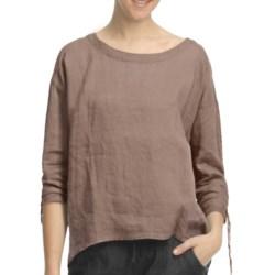Pulp Scoop Neck Linen Shirt - 3/4 Sleeve (For Women)