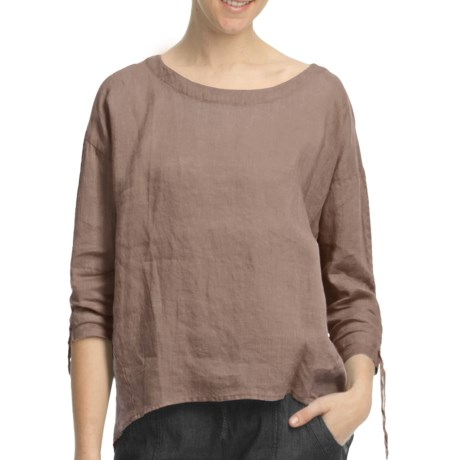 Pulp Scoop Neck Linen Shirt - 3/4 Sleeve (For Women)