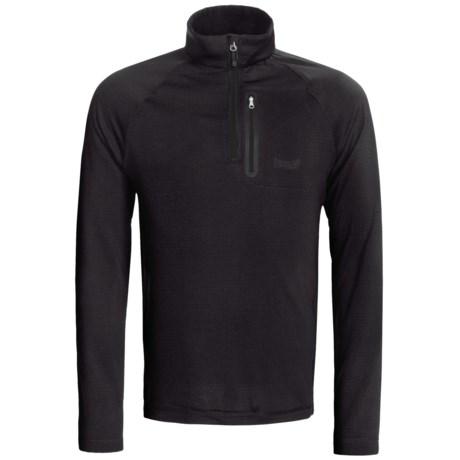 Marker Grid Fleece Shirt - Zip Neck (For Men)