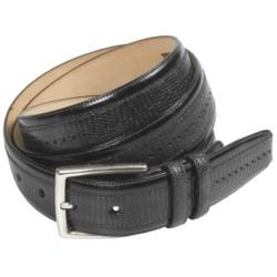 Mezlan Lizard Leather Belt - Satin Silver Buckle (For Men)