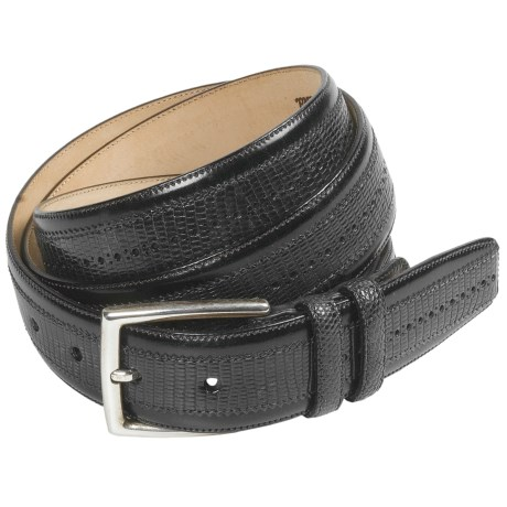 Mezlan Lizard Leather Belt - Satin Silver Buckle (For Men)