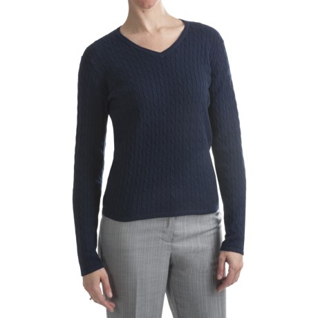 Belford Combed Cotton Cable Sweater - V-Neck (For Women)