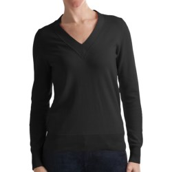 Odeon by Belford Combed Cotton Sweater - V-Neck (For Women)