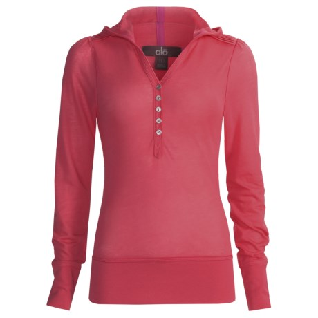 Alo Relaxed Hoodie Shirt - Button Front, Long Sleeve (For Women)