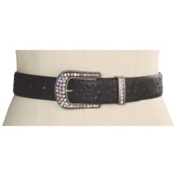 Roper Ostrich Print Belt - Leather (For Women)