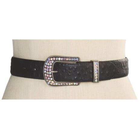 Roper Ostrich Print Belt - Leather (For Women)