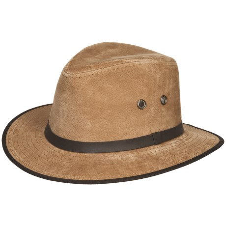 Wind River by Bailey Pacific Outback Hat - Leather, Pinch Crown (For Men and Women)