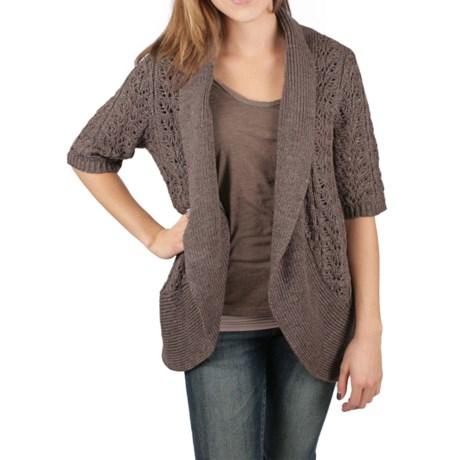 Ethyl Open Knit Cardigan Sweater - Elbow Sleeve (For Women)