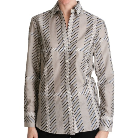 Paperwhite Embroidered Plaid Shirt - Long Sleeve (For Women)