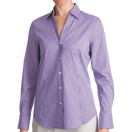 Paperwhite Johnny Collar Shirt - Yarn-Dyed Stripe, Long Sleeve (For Women)