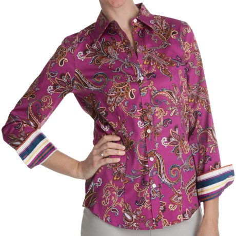 Paperwhite Printed Sateen Shirt - Long Sleeve (For Women)