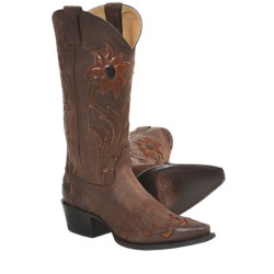 "Sonora Desert Flower Cowboy Boots - Leather, 13"", Snip Toe (For Women)"