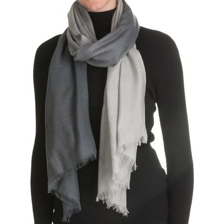 La Fiorentina Wool Ombre Scarf with Eyelash Fringe - Wool-Cashmere (For Women)