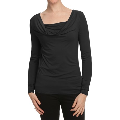 Cowl Boat Neck Shirt - Long Sleeve (For Women)