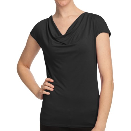 Cowl Neck Shirt - Short Sleeve (For Women)