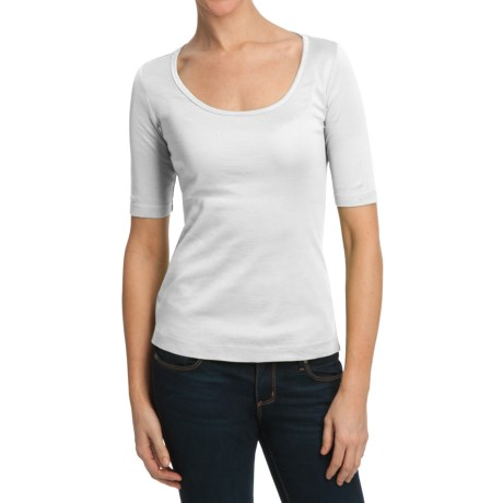 Scoop Neck Shirt - Stretch Cotton, Elbow Sleeve (For Women)