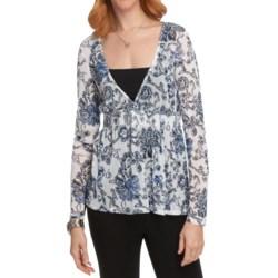 Sheer Smocked Shirt - Long Sleeve (For Women)