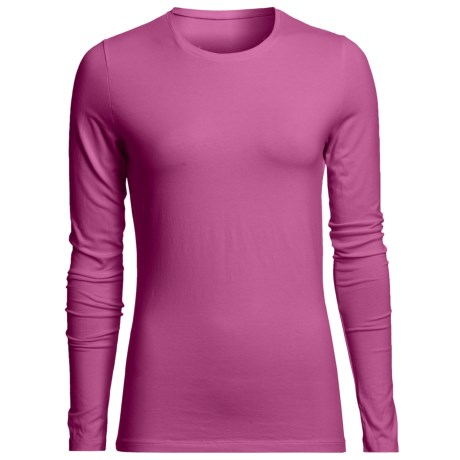 Stretch Cotton Crew Shirt - Long Sleeve (For Women)