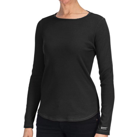 Heathered Cotton Jersey Shirt - Crew Neck, Long Sleeve (For Women)