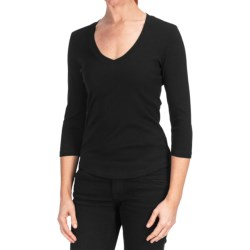 Cotton V-Neck Shirt - 3/4 Sleeve (For Women)
