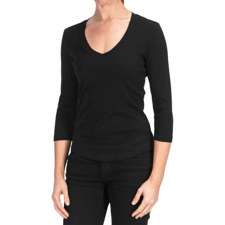 Cotton V-Neck Shirt - 3/4 Sleeve (For Women)