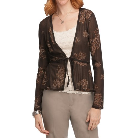 Sheer Print Cardigan Sweater (For Women)