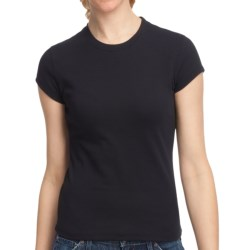 Fitted Cotton Crew Shirt - Short Sleeve (For Women)