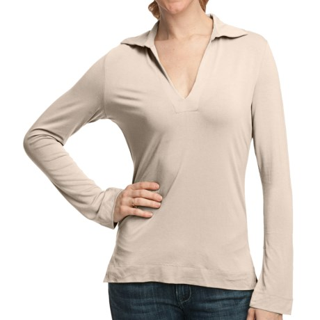 Johnny Collar Knit Shirt - Long Sleeve (For Women)
