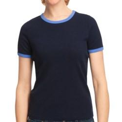 Cotton Ringer T-Shirt - Short Sleeve (For Women)