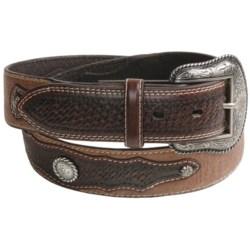 Roper Western Belt - Leather, Basket Weave Overlay (For Men)