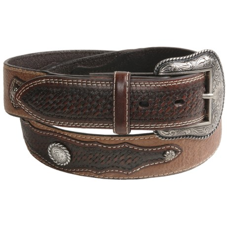 Roper Western Belt - Leather, Basket Weave Overlay (For Men)